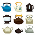teapots electric pots and kettles isolated kitchen vector image