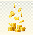 tower or stack of golden dollar coins vector image vector image