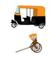 tuk-tuk and hand pulled rickshaw vector image