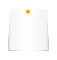 White paper sheet for memo with pin isolated on vector image