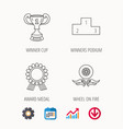 winner cup podium and award medal icons