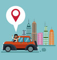 man car city background pointer map vector image