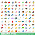 100 family icons set isometric 3d style vector image