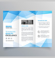 abstract blue geometric trifold brochure design vector image vector image