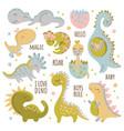 baby dino characters cartoon hand drawn vector image
