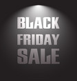 black friday sale discount text with light lamp vector image