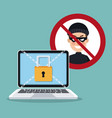 blue color background laptop with security padlock vector image vector image