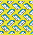 blue windows seamless pattern on yellow background vector image vector image