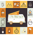 camping van and isolated icons in outdoor activity vector image
