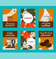 coffee beans and equipment set of cards vector image vector image