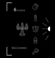 collection of 6 halloween icons in thin line style vector image vector image