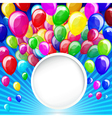 colorful balloons with banner on a blue background vector image vector image