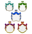 Colorful ceremonial royal mantles and crowns vector image