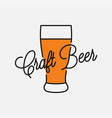 craft beer logo beer glass on white background vector image
