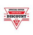 discount up to 50 percent off badge design specia vector image vector image