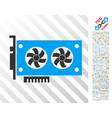 dual gpu videocard flat icon with bonus vector image vector image