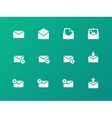 Email icons on green background vector image