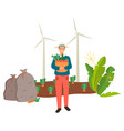 farming man carrying carrots on basket vector image vector image
