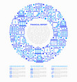 financial report concept in circle vector image vector image