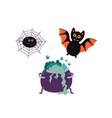 flat halloween symbols set vector image vector image