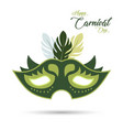 green carnival mask with green stroke and design vector image