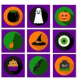 Halloween flat icons with holiday symbols vector image vector image