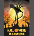 halloween zombie singing party in night graveyard vector image vector image