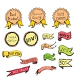Hand Drawn colored Doodle label ribbon and Design vector image vector image