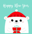 happy new year white polar bear head face holding vector image vector image