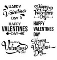 happy valentine day handwritten lettering set vector image vector image