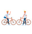 hipster young man with bicycle and coffee vector image vector image