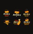 hot dog food logo or label elements for design vector image vector image