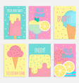 ice cream posters banners and cards in flat style vector image vector image