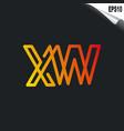 initial xw logo monogram design template simple vector image vector image