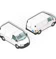 isometric white van in two position vector image vector image