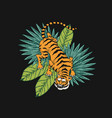 japanese tigers with tropical leaves wild animal vector image vector image