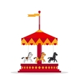 Kids carnival carousel in flat style vector image