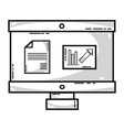 line computer with company document and statistics vector image vector image