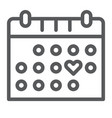 love calendar line icon romance and love vector image vector image