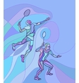 Mens doubles badminton players Color vector image vector image