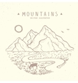 Mountains sketch nature vector image vector image