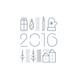 New Year Christmas linear icons Xmas minimalistic vector image vector image