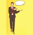 pop art steward flight attendant air hostess man vector image