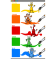 primary colors with cartoon aliens vector image