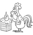 rooster and egg cartoon coloring book page