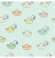 Seamless childish pattern with paper boats on the vector image