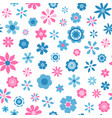seamless pattern with blue and pink flowers vector image
