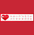 set icons valentines day editable stroke vector image