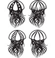 set of drawings of jellyfish vector image