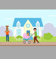 single parent and fatherhood father walking with vector image